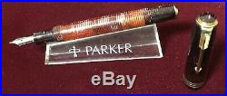 Vintage Parker Vacmatic Oversize Golden Arrow Fountain Pen in Burgundy Pearl