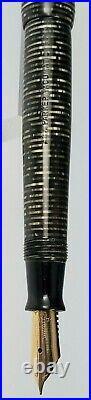 Vintage Parker Vacumatic Major Fountain Pen Silver Pearl