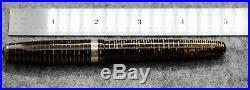 Vintage Parker Vacumatic fountain pen, 1946, brown-striped, 14k fine nib