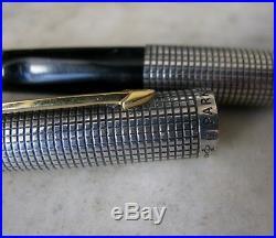 Vintage Scarce Parker 75 Flat Top Sterling Silver Fp Solid Gold 18 Carats Nib