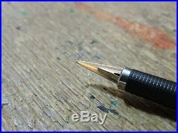 Vintage Stainless Steel Flighter GT PARKER 180 X/M Gold 14K Nib Fountain Pen USA