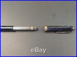 Vtg 1943 PARKER DUOFOLD Violet/Gray Striped Fountain Pen & Pencil Set VACUMATIC