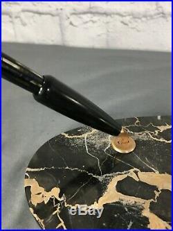 Vtg Pair Parker Striped Duofolds (complete pens) & Fountain Pen Desk Set Base