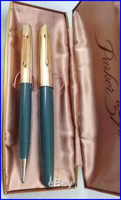 Vtg Parker 51 Navy Gray Aerometric Fountain Pen Pencil Set Gold Filled Cap Boxed