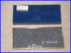 Vtg Parker 75 Classic Sterling Silver Cisele Ballpoint Pen and Pencil Set withCase