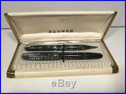 Vtg. Parker Vacumatic Silver & Black Blue Diamond Fountain Pen Pencil Set & Case
