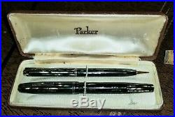 Vtg c1940 PARKER DUOFOLD PENCIL & FOUNTAIN PEN with CASE-Lot Green & Gold Striped